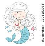 Stock photo little mermaid marine theme 1101153095