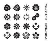 flowers ornament icon vector set | Shutterstock .eps vector #1101154952