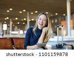caucasian happy woman sitting...   Shutterstock . vector #1101159878