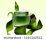 green cosmetic cream jar mockup ... | Shutterstock .eps vector #1101162512