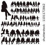 silhouette people sit  set ... | Shutterstock .eps vector #1101172862