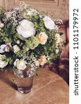 bouquet of white roses on... | Shutterstock . vector #1101179972