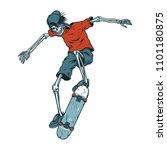 vintage colorful skeleton... | Shutterstock .eps vector #1101180875