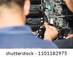 boat mechanic is repairing the... | Shutterstock . vector #1101182975