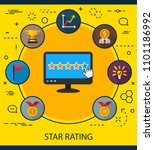 star rating flat icons concept. ... | Shutterstock .eps vector #1101186992