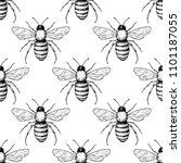 bee seamless pattern. hand... | Shutterstock . vector #1101187055