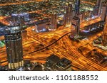 dubai sunset panoramic view of... | Shutterstock . vector #1101188552