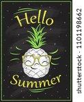 hello summer chalkboard design  ...   Shutterstock .eps vector #1101198662