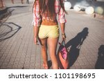 beautiful girl walking beach | Shutterstock . vector #1101198695