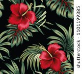 tropical vintage red hibiscus... | Shutterstock .eps vector #1101199385