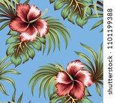 tropical vintage hibiscus... | Shutterstock .eps vector #1101199388