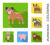 toy animals flat icons in set... | Shutterstock . vector #1101206966