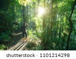 woman hiking in rainforest of... | Shutterstock . vector #1101214298