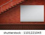 empty mockup billboard on red... | Shutterstock .eps vector #1101221045