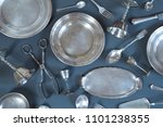 Vintage silverware on gray...