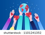concept of ecology. human hands ... | Shutterstock .eps vector #1101241352