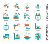 set of 16 icons such as dish ...