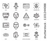 set of 16 icons such as android ...
