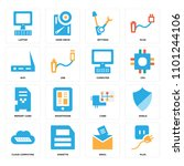 set of 16 icons such as plug ...