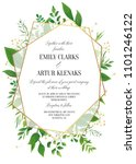 wedding invitation  floral... | Shutterstock .eps vector #1101246122