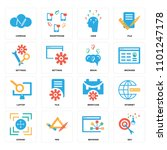 set of 16 icons such as seo ... | Shutterstock .eps vector #1101247178