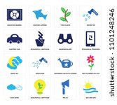 set of 16 icons such as sea and ...