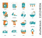 set of 16 icons such as towel ...