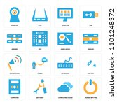 set of 16 icons such as power...