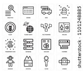 set of 16 icons such as cyborg  ...