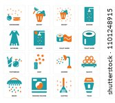 set of 16 icons such as trash ...