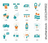set of 16 icons such as shelf ...