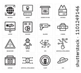set of 16 icons such as ufo ...