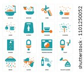 set of 16 icons such as vacuum...