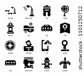 set of 16 icons such as highway ...