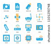 set of 16 icons such as modem ...