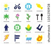 set of 16 simple editable icons ... | Shutterstock .eps vector #1101250928
