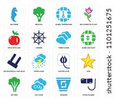 set of 16 icons such as diving...