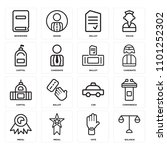 set of 16 icons such as balance ...