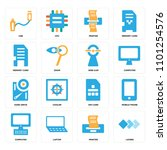 set of 16 icons such as layers  ...