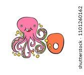 english letter o. octopus.... | Shutterstock .eps vector #1101260162