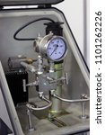 Small photo of Differential pressure gate. Manometer and valve on the pipe