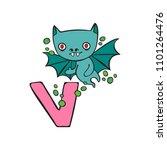english letter v. vampire. bat. ... | Shutterstock .eps vector #1101264476