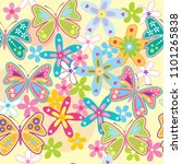 seamless pattern with butterfly ... | Shutterstock .eps vector #1101265838