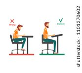 correct  incorrect neck  spine... | Shutterstock .eps vector #1101270602