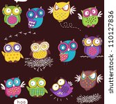 seamless pattern with color owl ... | Shutterstock .eps vector #110127836