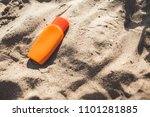 tanning cream on the beach   Shutterstock . vector #1101281885