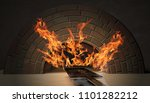 flames in the brick oven  | Shutterstock . vector #1101282212
