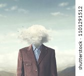 stressed man head in the cloud | Shutterstock . vector #1101291512