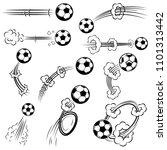 set of football  soccer balls...   Shutterstock .eps vector #1101313442