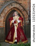 woman in medieval clothes... | Shutterstock . vector #1101314426